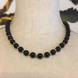 Vintage black glass pearl bead necklace